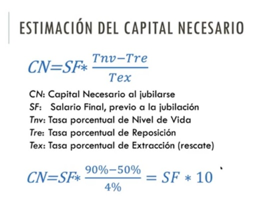 Inversión múltiplo 10 para calcular capital pension